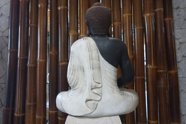 BUDDHA sitzend Lavastein 60 cm Figur Feng Shui Meditation Skulptur Lotus
