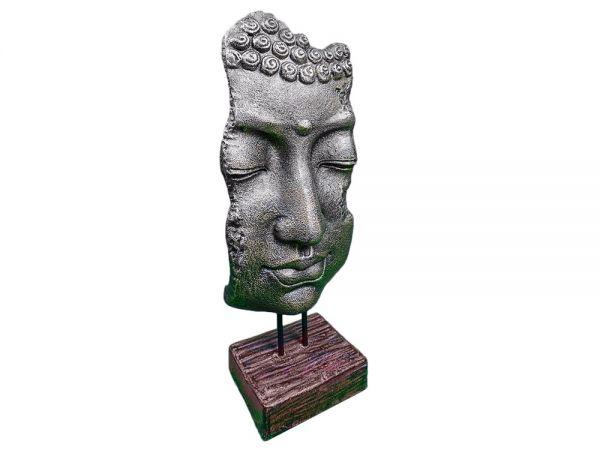 BUDDHA Gesicht 70 cm MASKE Standmaske Kopf Gold/Braun Stein Feng Shui