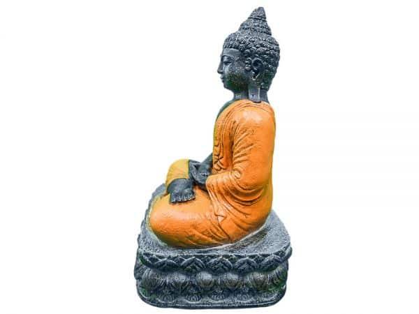 BUDDHA sitzend Lavastein 40 cm Figur Feng Shui Meditation Skulptur Lotus