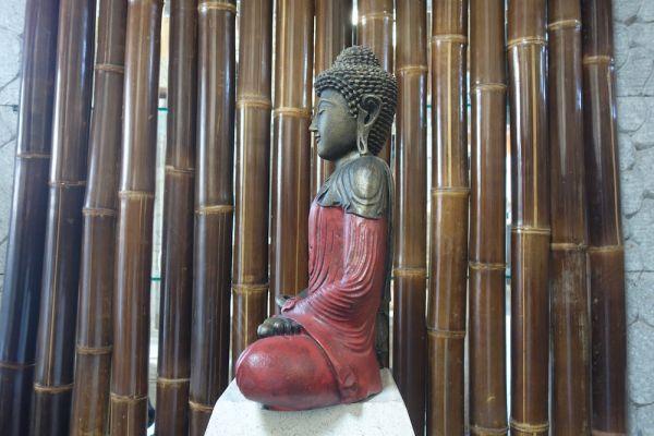 BUDDHA sitzend Lavastein 45 cm Figur Feng Shui Meditation Skulptur Lotus ROT