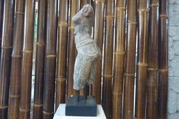 Büste Frau Torso Figur Statu Antik Lavastein Asian Skulptur Garten