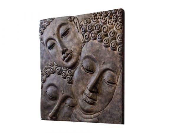 Buddha Kopf Gesicht Wandrelief Figur Lavastein antik asian Deko k038