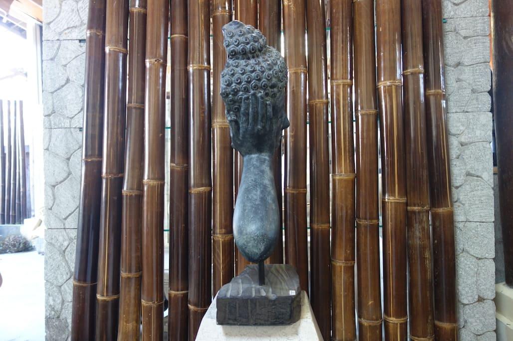 Designer holzmobel skulptur  Buddha kopf aus Lavastein asian antik Skulptur schwarz Feng Shui ...