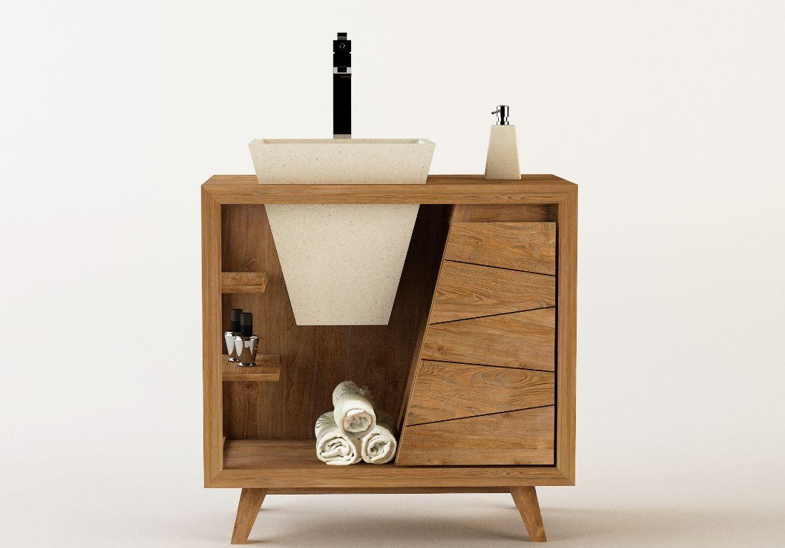Single Waschtisch Diana Teak Holz Unterschrank Badezimmer Badmöbel ...