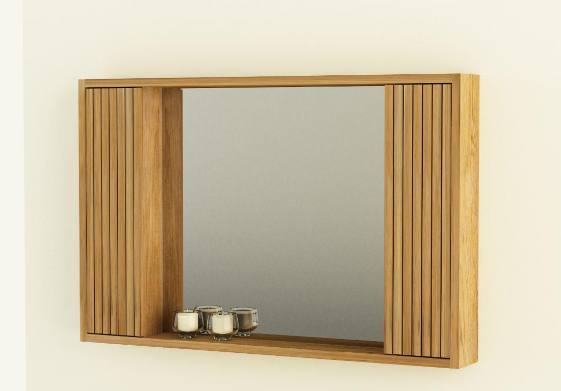 Details zu Spiegelschrank Cloe teakholz Wandspiegel Holzrahmen Badezimmer  Teak Badspiegel