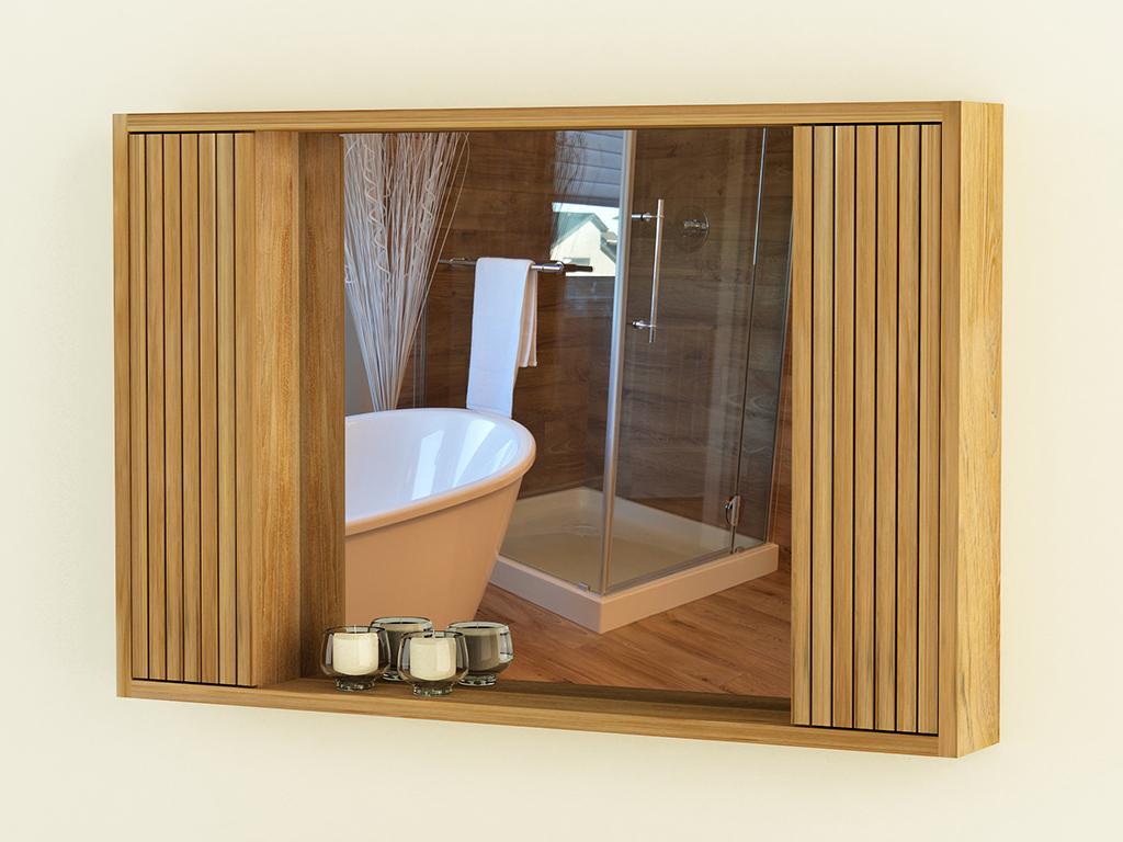 Spiegelschrank Turin 20 Teakholz 20 cm Wandspiegel Holzrahmen Badezimmer  RBK20