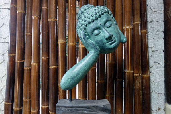 Buddha Kopf Lavastein Asian antik Skulptur K036